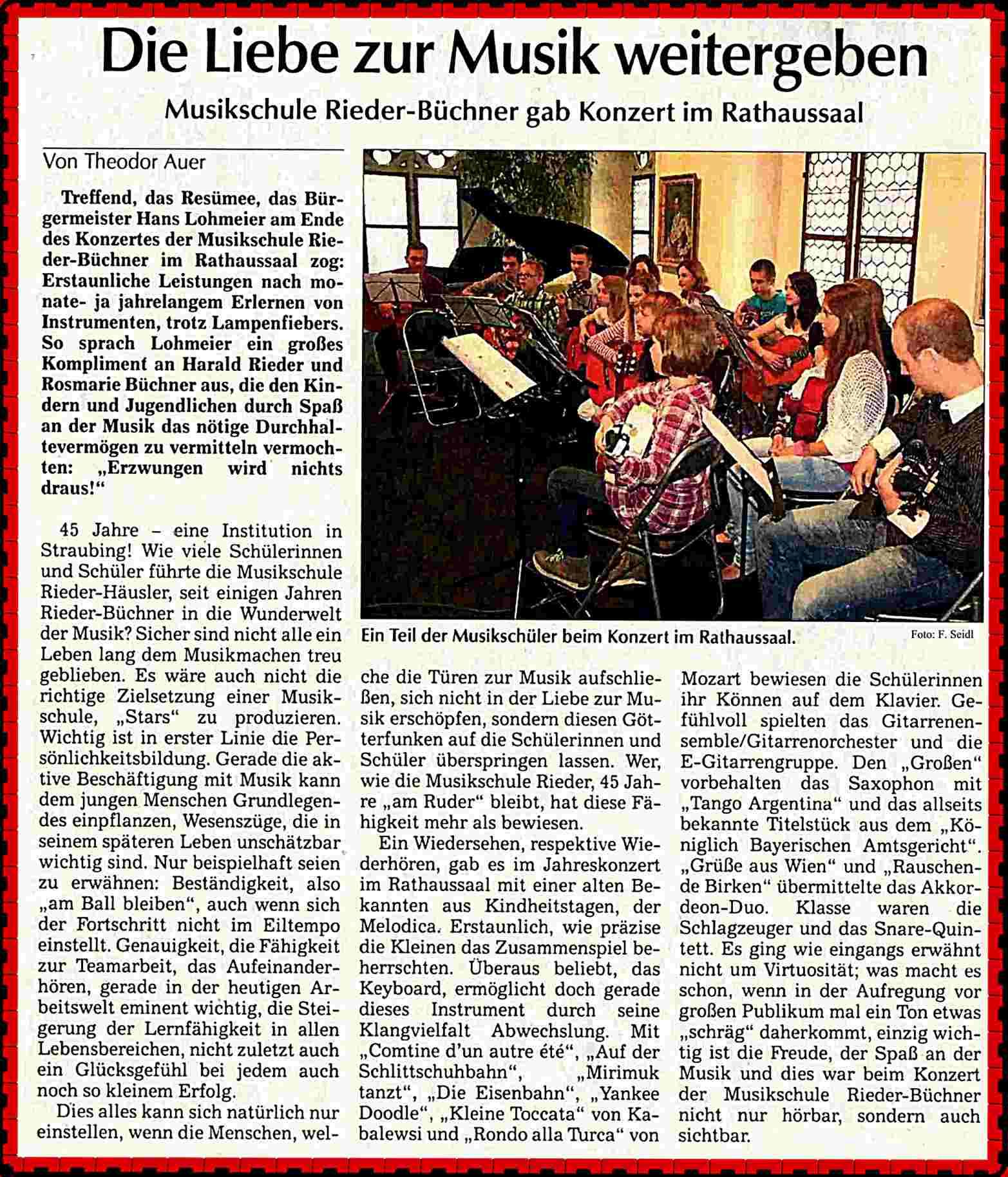 Zeitungsbericht 2013